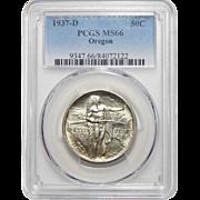 1937-D Pcgs MS66 Oregon Half Dollar