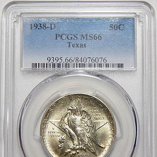 1938-D Pcgs MS66 Texas Half Dollar
