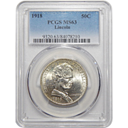 1918 Pcgs MS63 Lincoln Half Dollar