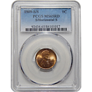 1909-S/S Pcgs MS65RD S/Horizontal S Lincoln Wheat Cent