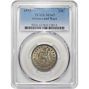 1853 Pcgs MS62 Arrows and Rays Liberty Seated Quarter
