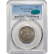 1855 Pcgs/Cac MS63 Arrows Seated Liberty Quarter