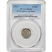 1838 Pcgs MS63 No Drapery, Lg Stars Liberty Seated Half Dime