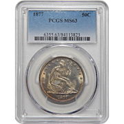 1877 Pcgs MS63 Liberty Seated Half Dollar