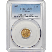 1917 Pcgs MS63 McKinley Gold Dollar