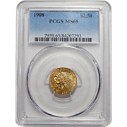 1908 Pcgs MS65 $2.50 Indian Gold