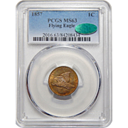 1857 Pcgs/Cac MS63 Flying Eagle Cent