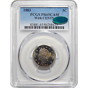 1883 Pcgs/Cac PR65CAM With CENTS Liberty Head Nickel
