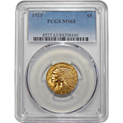 1913 Pcgs MS63 $5 Indian Gold