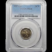 1887/(6) Pcgs PR64 Three-Cent Copper