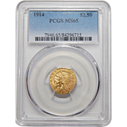 1914 Pcgs $2.50 MS65 Indian Gold