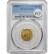 1908 Pcgs MS63 PQ! $2.50 Indian Gold
