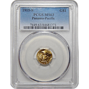 1915-S Pcgs MS63 Panama-Pacific $1 Gold