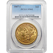 1867-S Pcgs MS61 $20 Liberty Head Gold