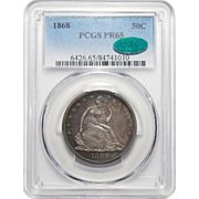 1868 Pcgs/Cac PR65 Liberty Seated Half Dollar