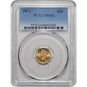 1874 Pcgs MS63 One Dollar Gold