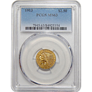 1913 Pcgs MS63 $2.50 Indian Gold