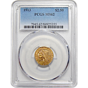 1913 Pcgs MS62 $2.50 Indian Gold
