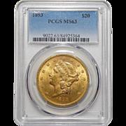 1893 Pcgs MS63 $20 Liberty Head Gold
