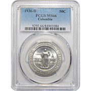 1936-D Pcgs MS66 Columbia Half Dollar