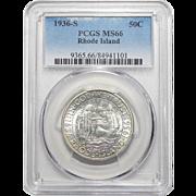 1936-S Pcgs MS66 Rhode Island Half Dollar