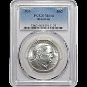 1936 Pcgs MS66 Robinson Half Dollar