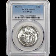 1936-D Pcgs MS66 San Diego Half Dollar