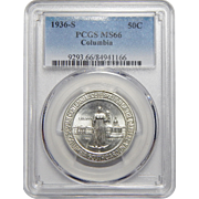 1936-S Pcgs MS66 Columbia Half Dollar