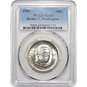 1946 Pcgs MS65 Booker T. Washington Half Dollar