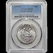 1936-D Pcgs MS65 Rhode Island Half Dollar