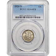 1920-D Pcgs MS64FB Mercury Dime