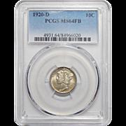 1920-D Pcgs MS64FB Mercury Dime