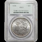 1896 Pcgs MS63 Morgan Dollar