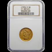 1852-D Ngc XF45 $5 Liberty Head