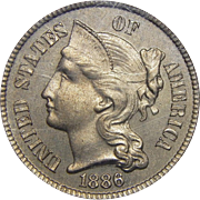 1886 Pcgs PR65 Three-Cent Copper Nickel