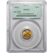 1903 Pcgs MS63 LA Purchase, McKinley $1 Gold