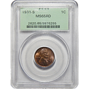 1931-S Pcgs MS65RD Lincoln Wheat Cent