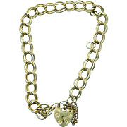 Double Link Gold Charm Bracelet 9K with Lock Clasp 7.5""