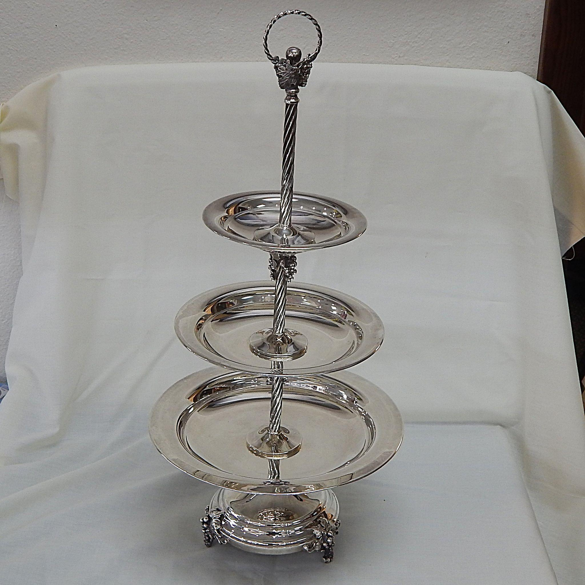 Hazorfim Sterling Silver 3 Tier Serving Dish With Grape