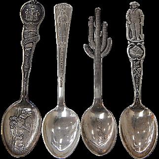Lot of 4 Western Theme Sterling Souvenir Spoons NM, NV, WY, & AZ R050