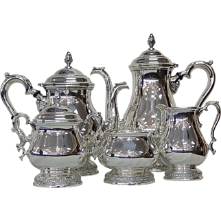 International Prelude 5-Piece Sterling Silver Tea and Coffee Set Never Monoed R053