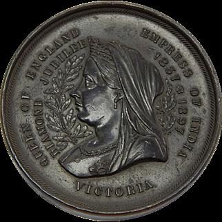 "1897 Queen Victoria Jubilee Bronze Medal (British Empire ""Map"" Reverse) - Large - 2.75"" 224gram"