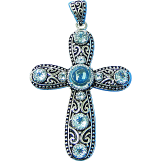 """Sterling Silver Cross Filigree Pendant with Blue Topaz Stones 2"""" high R055"""