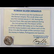 Ancient Roman Silver Denarius Marcus Aurelius with COA