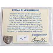 Ancient Roman Silver Denarius Faustina Minor with COA
