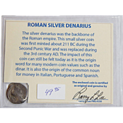 Ancient Roman Silver Denarius Lucius Verus with COA