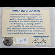 Ancient Roman Silver Denarius Septimius Severus with COA
