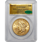 1857-S Pcgs MS64 S.S Central America 20B Bold-S $20 Liberty Head Gold