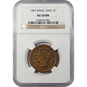 1857 NGC AU50BN Small Date Braided Hair Large Cent