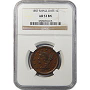 1857 NGC AU53BN Small Date Braided Hair Large Cent